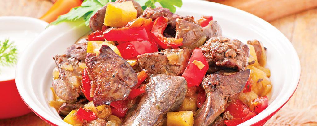 Συκωτάκια κοτόπουλου με πιπεριές