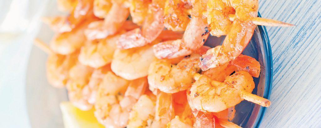 Γαρίδες με σος μπάρμπεκιου πορτοκαλιού