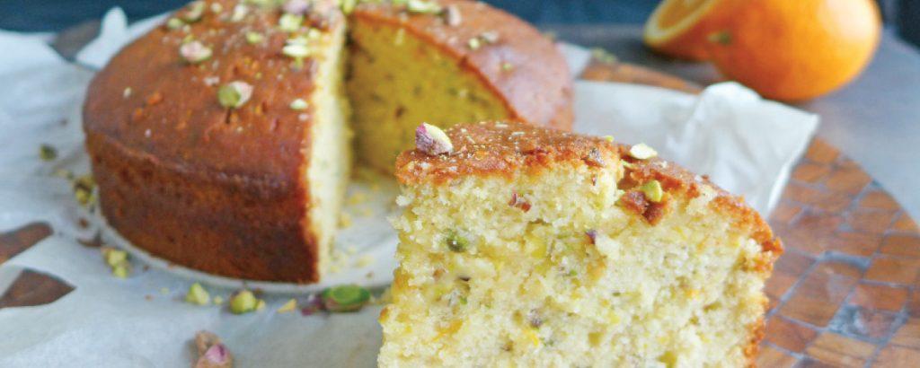 Κέικ με φιστίκια Αιγίνης και ανθόνερο