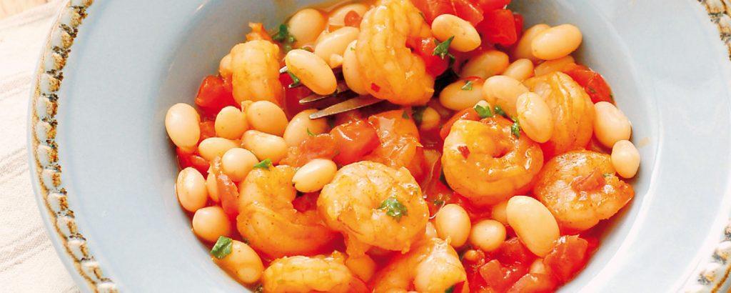 Ισπανική πικάντικη φασολάδα με γαρίδες