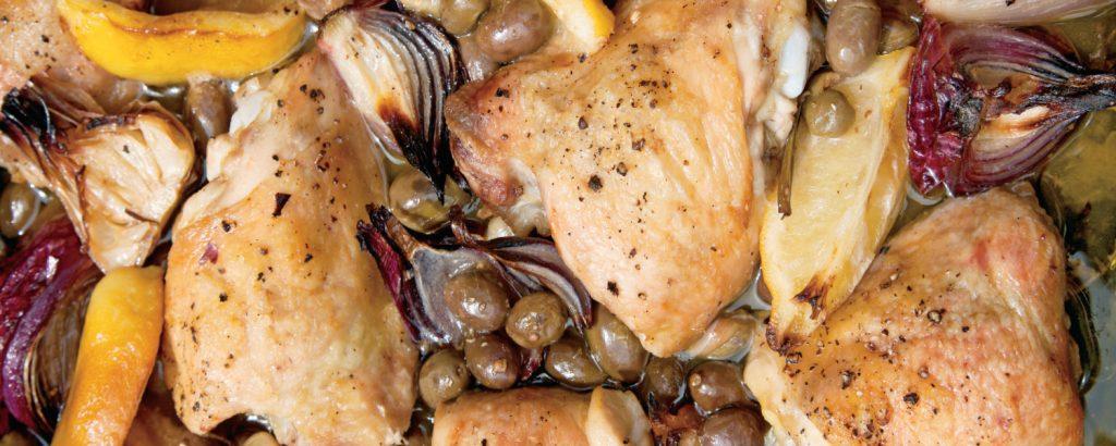 Κοτόπουλο με ελιές και λεμόνι