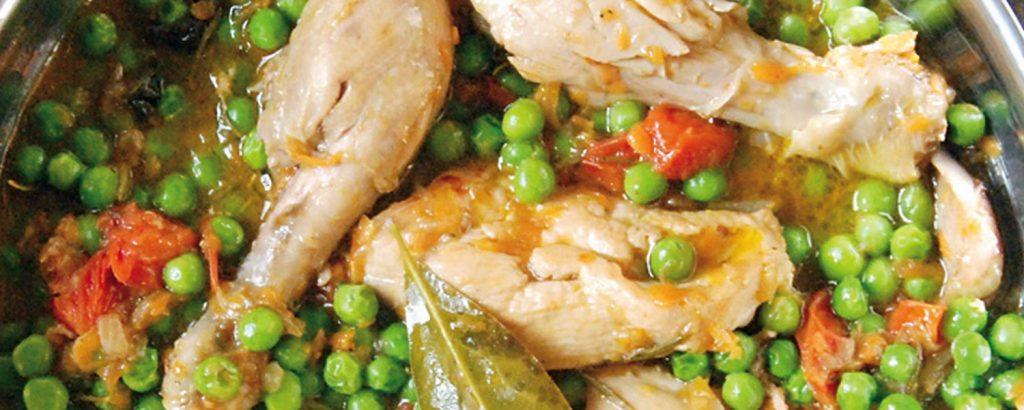 Κοτόπουλο με μπιζέλια α λα ιταλικά
