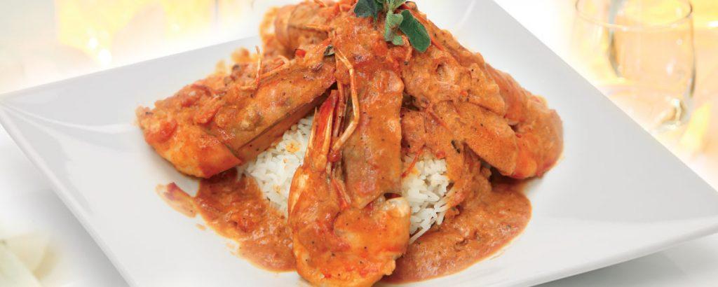 Γαρίδες με ούζο και ρύζι