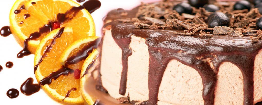 Κέικ με άσπρη σοκολάτα και σος σοκολάτα-πορτοκάλι