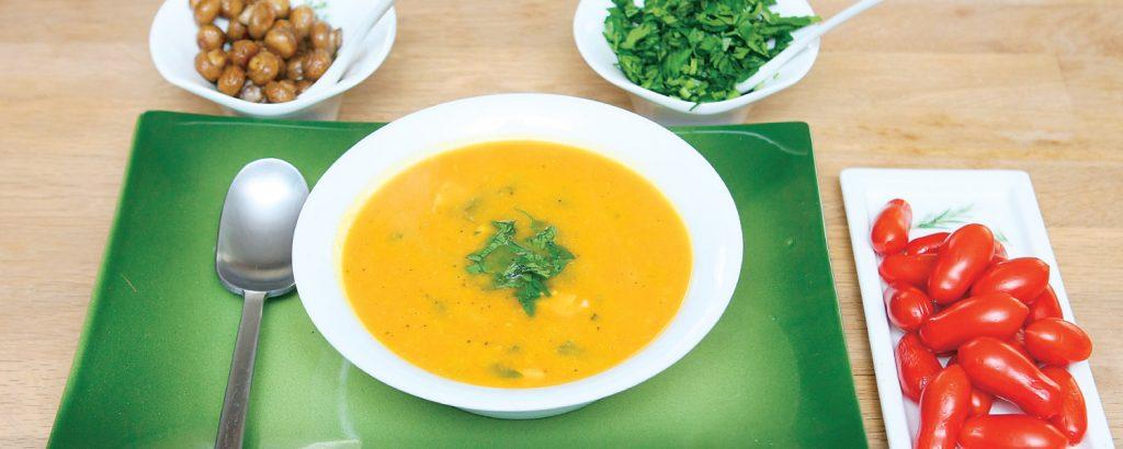 Σούπα με γαρίδες και σολομό