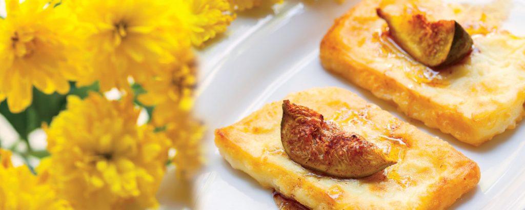 Γραβιέρα σαγανάκι με μέλι και σύκο