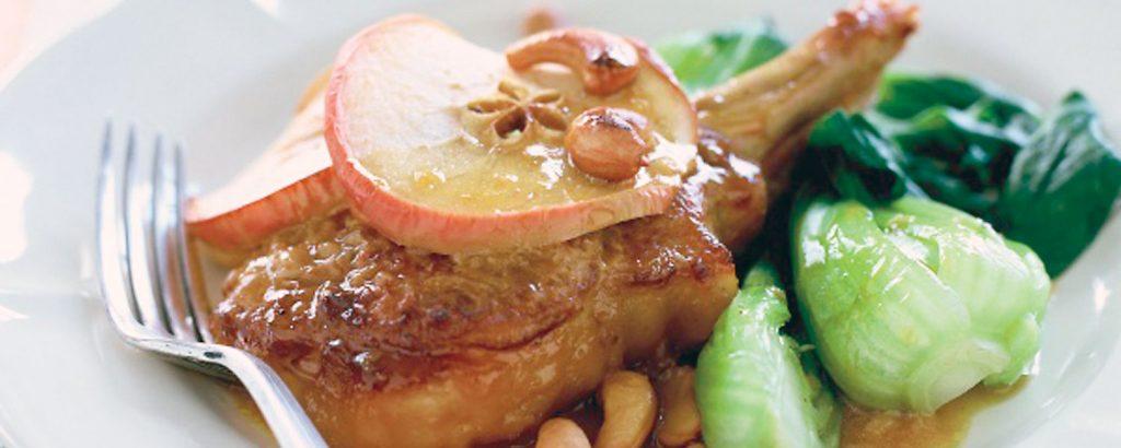 Μπριζόλες χοιρινές με μήλο
