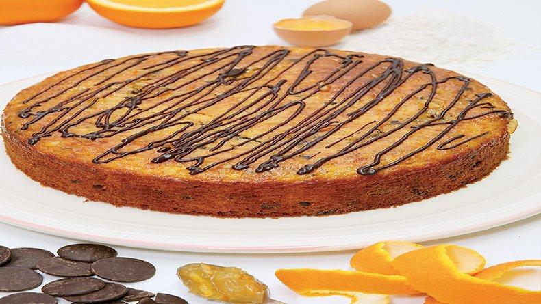 Κέικ πορτοκαλιού με μαύρη σοκολάτα