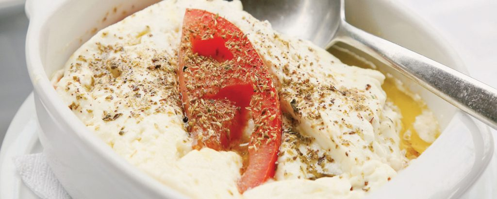Φέτα ψητή με ντομάτα και ρίγανη