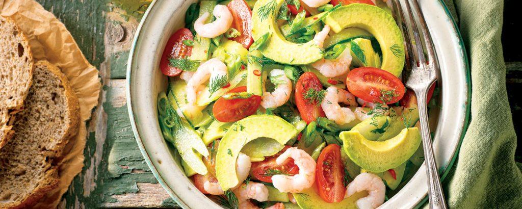 Σαλάτα µε αβοκάντο και γαρίδες