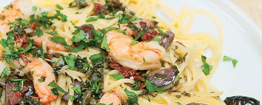 Σπαγέτι με μεσογειακές γαρίδες