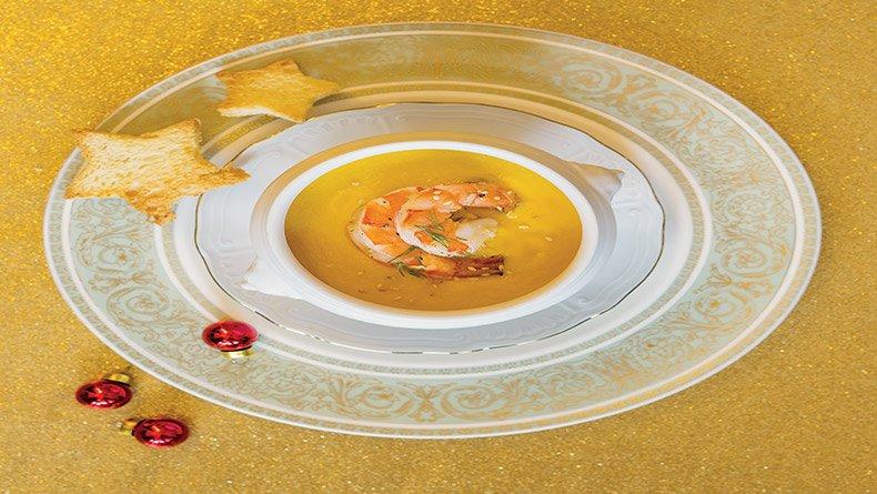 Καροτόσουπα  με γαρίδες