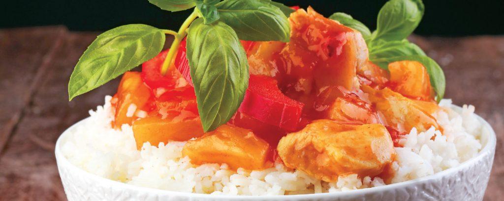Koτόπουλο με Mango Chutney και ρύζι
