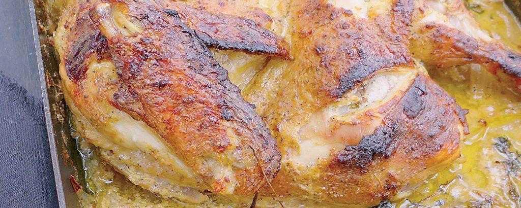 Κοτόπουλο λεμονάτο με μουστάρδα και μαύρο πιπέρι