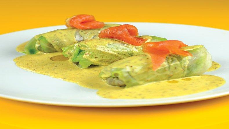 Λαχανοντολµάδες µε ψάρι και σος µουστάρδας