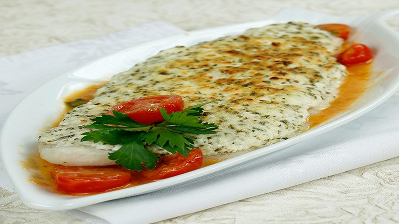 Μπακαλιάρος ριγανάτος με κατσικίσιο τυρί