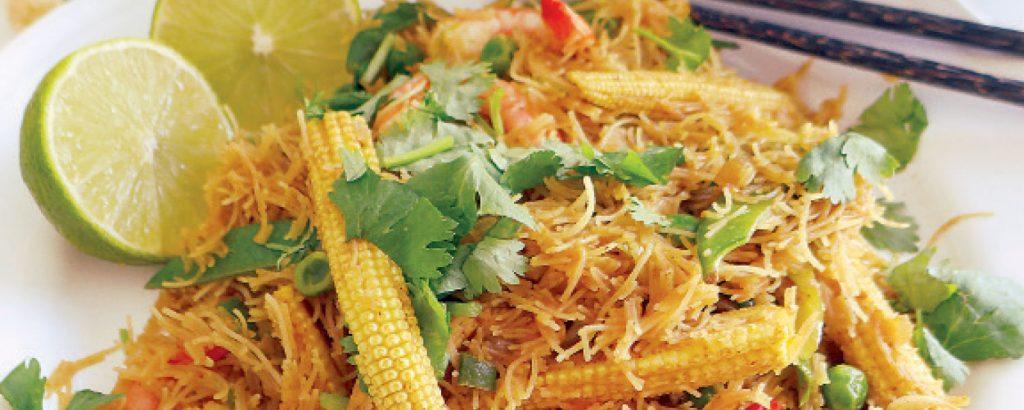 Νουντλς Σιγκαπούρης (Singapore noodles)