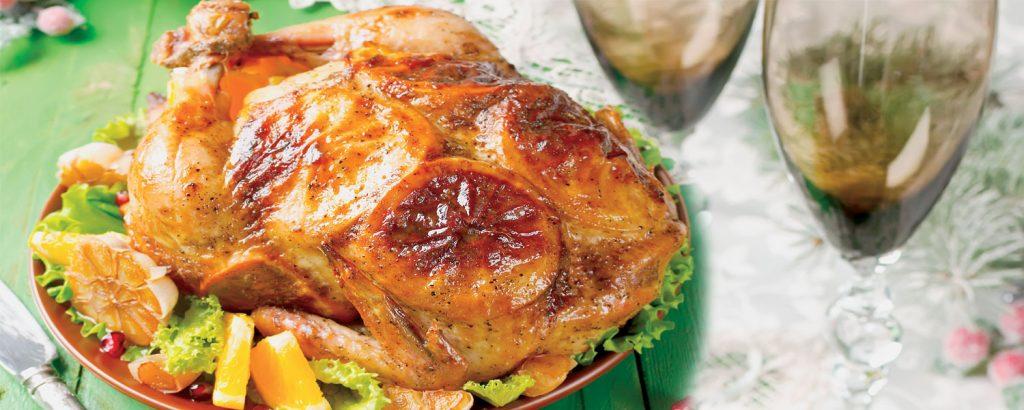 Γιορτινό κοτόπουλο με πορτοκάλι