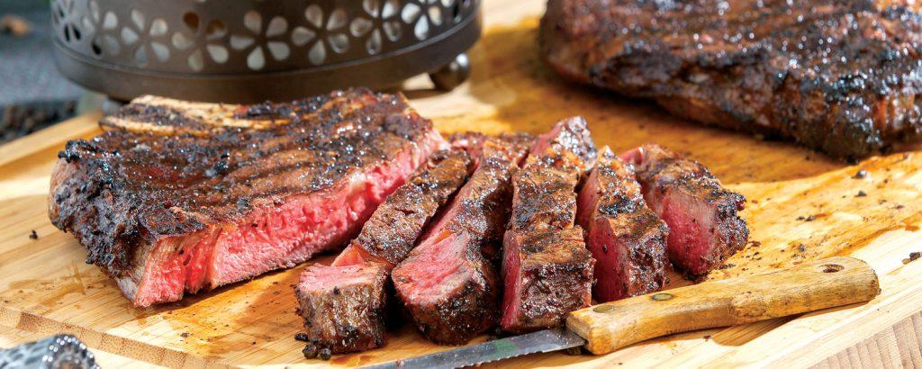 Rib-Eye Steak με κρούστα από μανιτάρια πορτσίνι