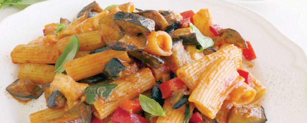 Ριγκατόνι με μελιτζάνα και μοτσαρέλα