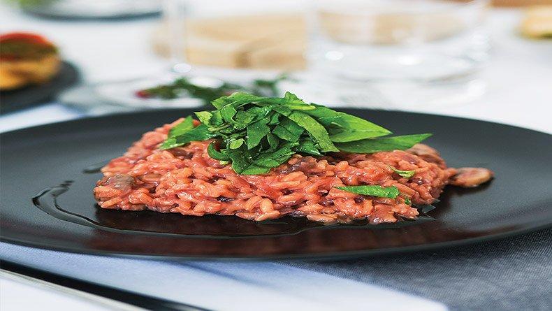 Ριζότο με παντζάρι και μανιτάρια
