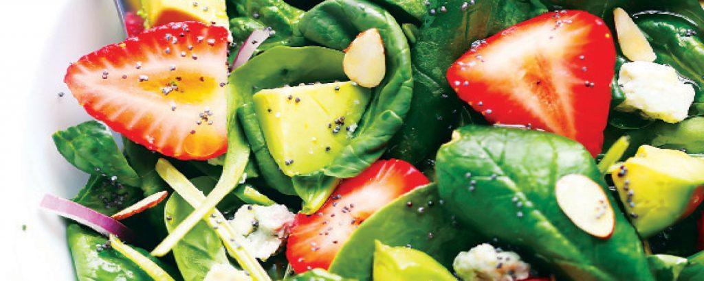 Σαλάτα με φράουλες και σπανάκι