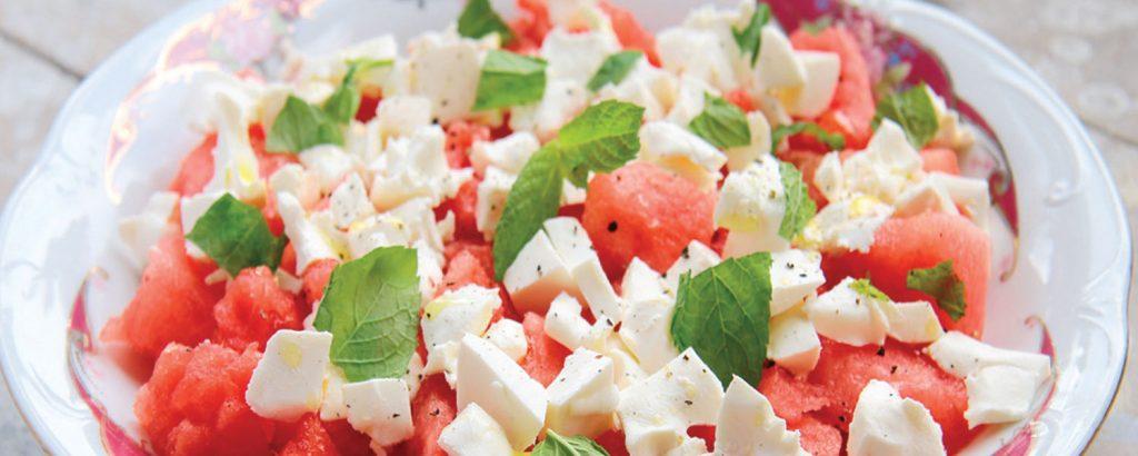Σαλάτα καρπούζι-χαλούμι
