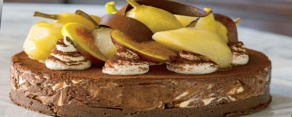 Cheesecake με σοκολάτα και αχλάδια