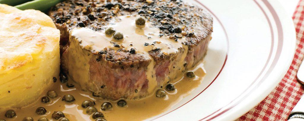 Στέικ πιπεράτο φλαμπέ (Steak au poivre flambé)
