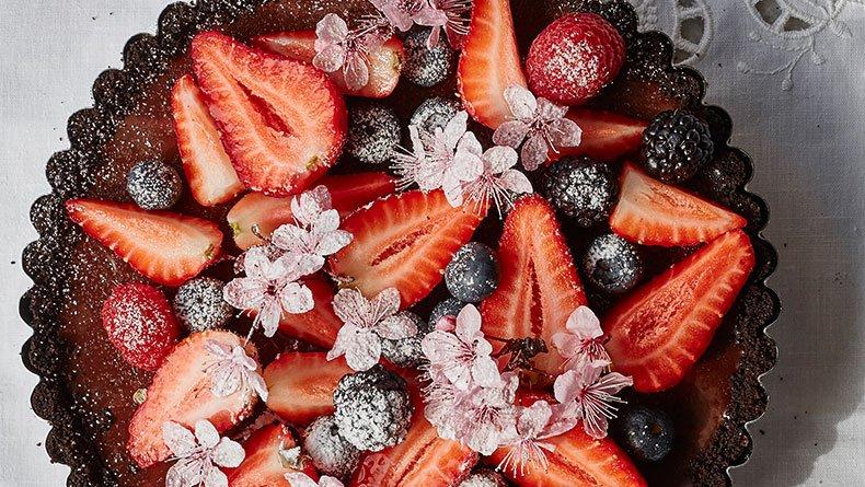 Τάρτα σοκολάτας Ganache με φράουλες