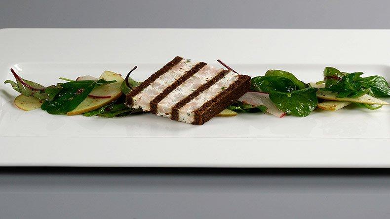 Τερίν με γαρίδες και ψωμί πάμπερνικελ