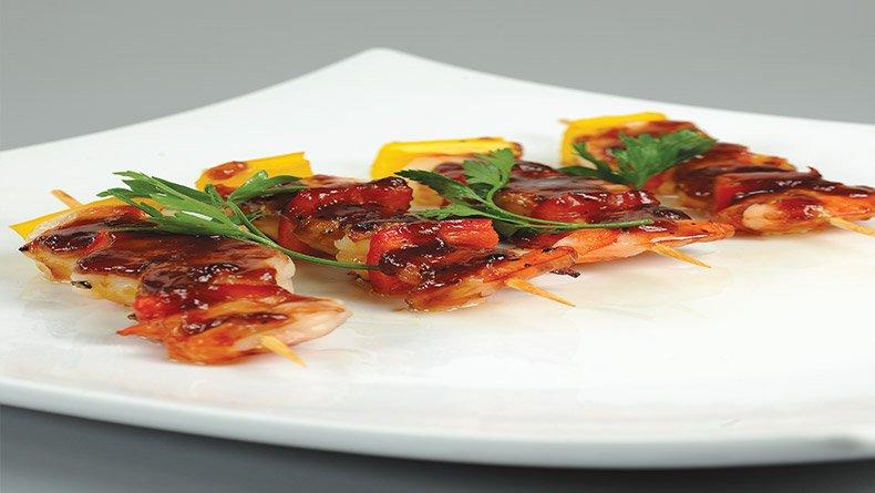 Τεριγιάκι µε γαρίδες µαρινάτες