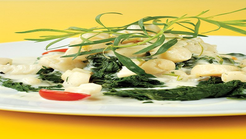 Χτένια με σπανάκι και σάλτσα ολαντέζ
